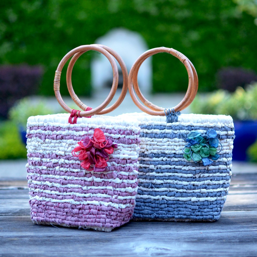 Vintage Stripes Locker Hooked Totes - Free Pattern