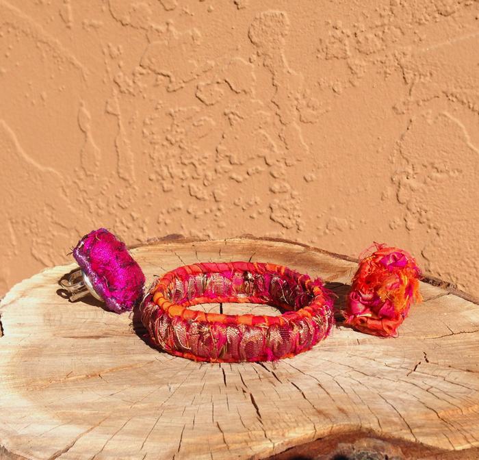 Fiber Gems Bracelet & Matching Rings