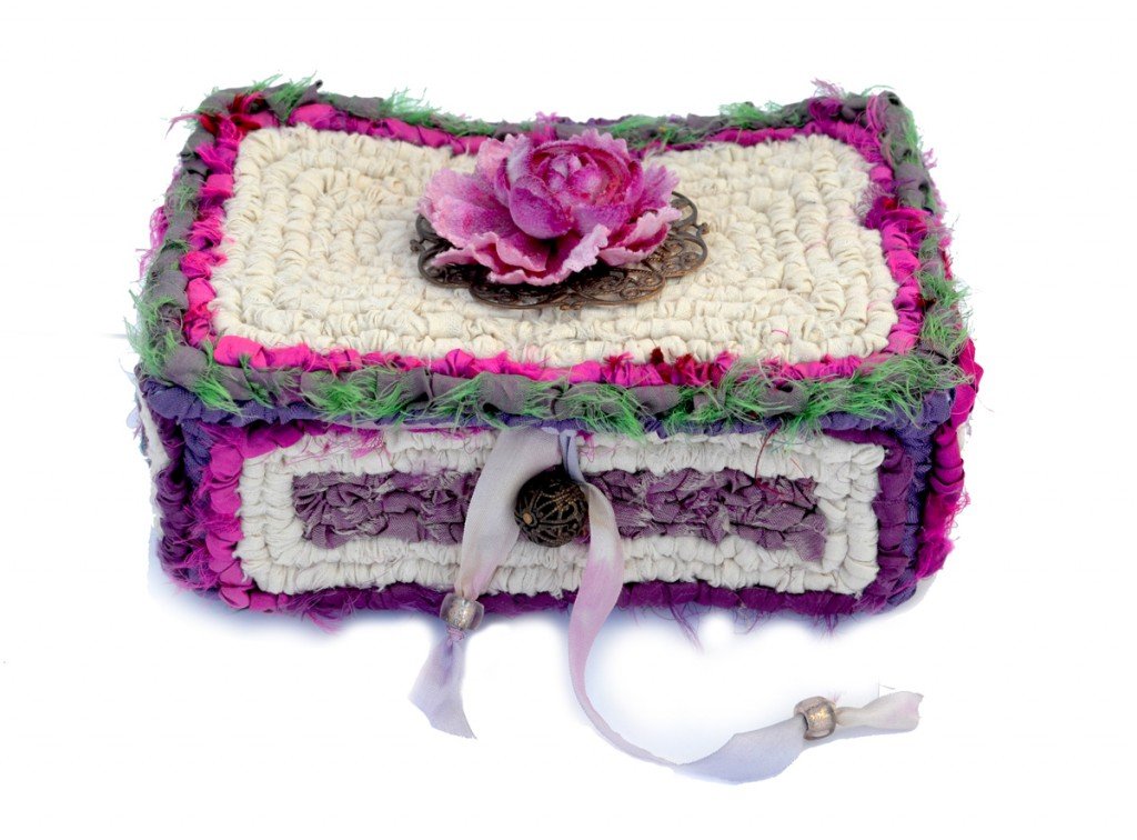 "Sterling Rose Box featured in ""Locking Loops"" Book--Cotton Muslin & Recycled Silk"