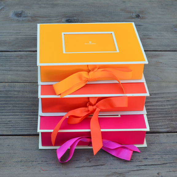 Color Crazy Photo Boxes in Yellow, Orange, and Fuchsia