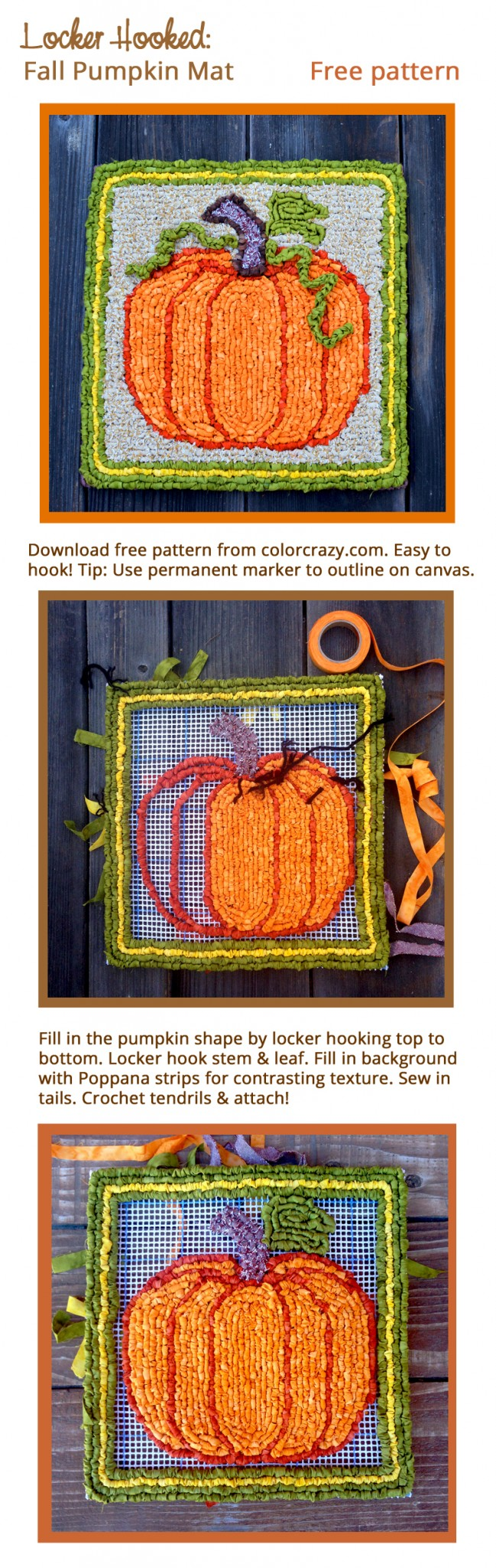 Locker Hooked Fall Pumpkin Mat