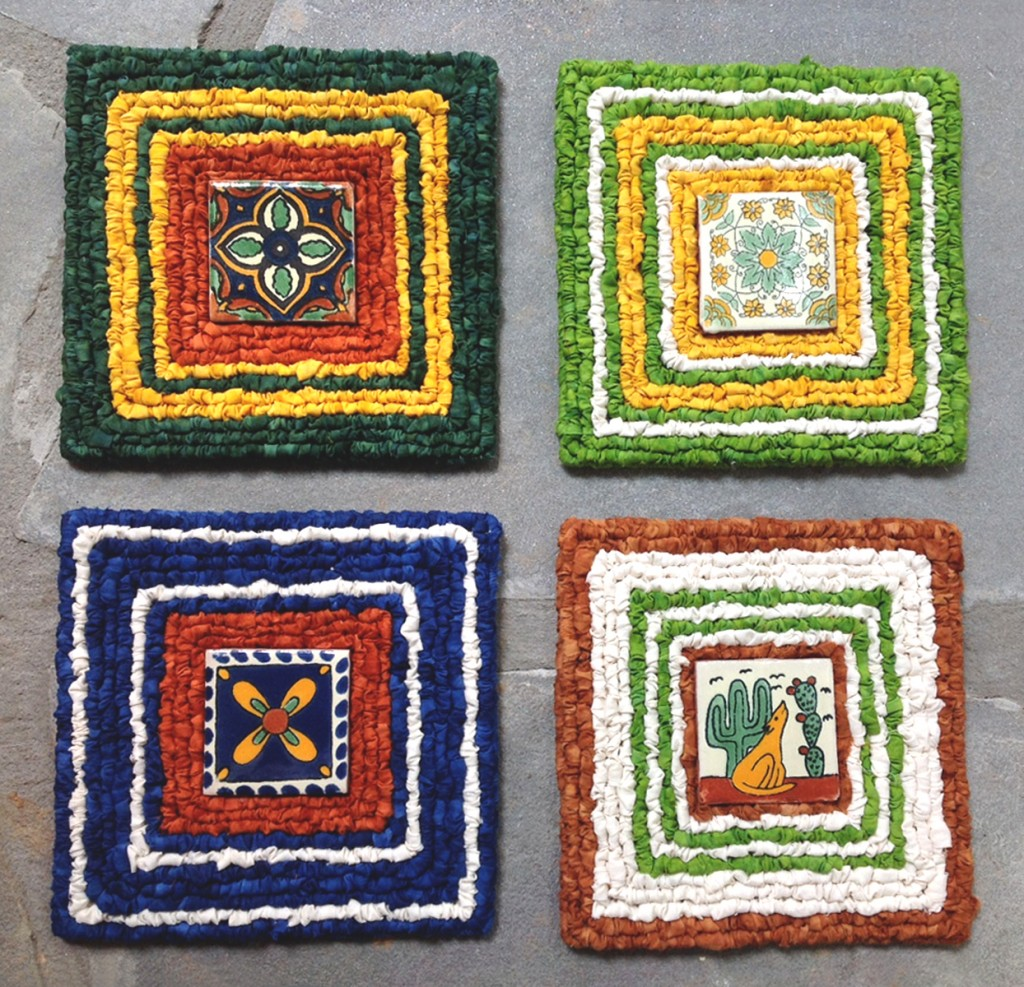 Joan Booth's Locker Hooked Trivets with Ceramic Tiles