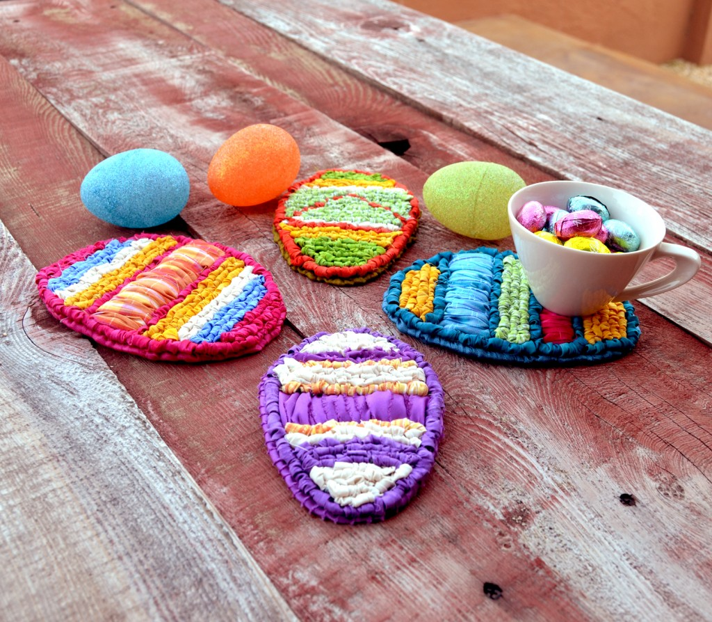 Locker hooked Easter egg coasters