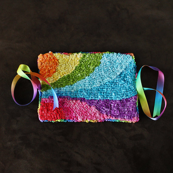 Rainbow Locker Hooked Journal Cover by Kat Cranston on Etsy.