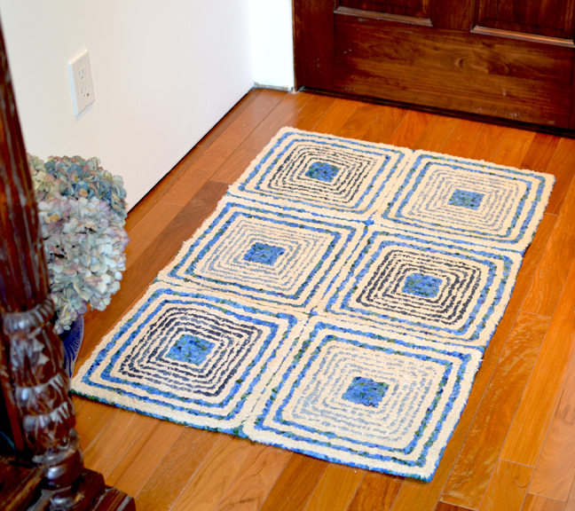 Spirals Squares Rug Locker Hooked on 3.75 Mesh Canvas with Recycled Denim, Flannel & Osnaburg Fabric.