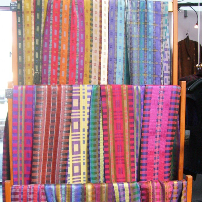 Susan Neal's woven silk scarves