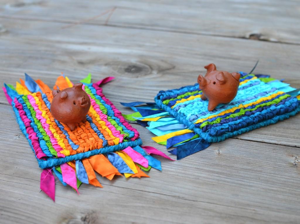 Two 3-legged Piggies on Locker Hooked Magic Carpets