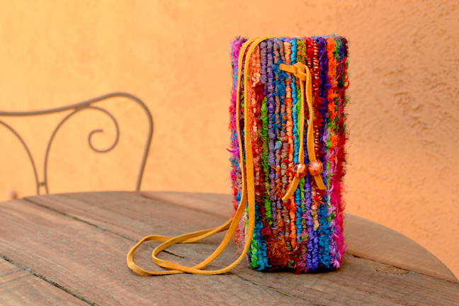 Locker Hooked Bottle Carrier with Recycled Sari Strips on 5-mesh Canvas